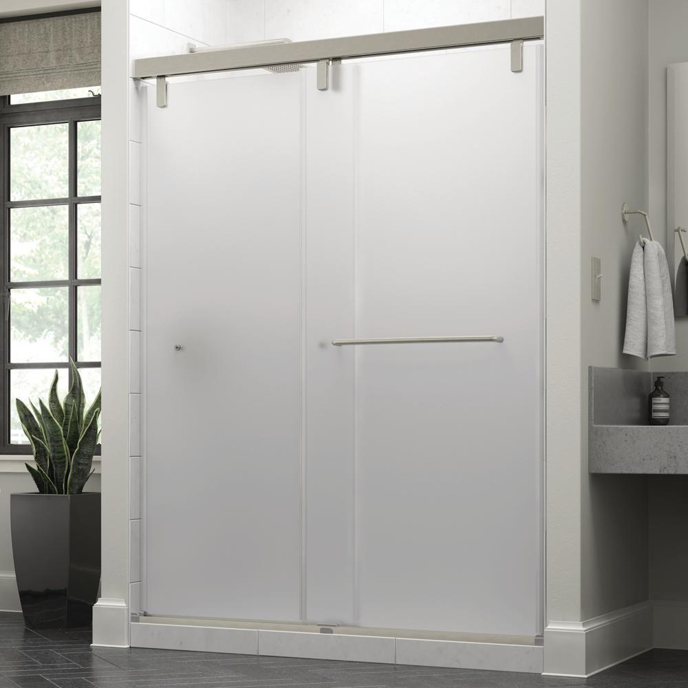 Delta Simplicity 60 X 71 1 2 In Frameless Mod Soft Close Sliding Shower Door In Nickel With 3 8 In 10mm Niebla Glass Sd3443212 Shower Doors Frameless Sliding Shower Doors Shower Door Handles
