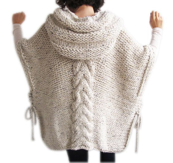 Tweed Beige Hand Knitted Poncho with Hood | Muster stricken, Rauch ...