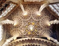 ENGLISH LATE GOTHIC ARCHITECTURE (Perpendicular) - Chapel of Henry VII - Westminster Abbey - Close-up of Henry VII vault details.Ceiling made out of light wood. Latern-like knobs hanging from conical fans. LOCATION: LONDON, ENGLAND