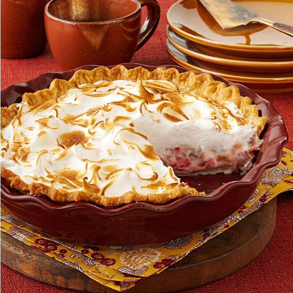 Meringue Pie Contest-Winning Rhubarb Meringue Pie Recipe -My husband's grandmother was a great cook and didn't always share her secrets, so we are fortunate to have her recipe for rhubarb cream pie. I added one of my favorite crusts and a never-fail meringue. —Elaine Sampson, Colesburg, IowaContest-Winning Rhuba..