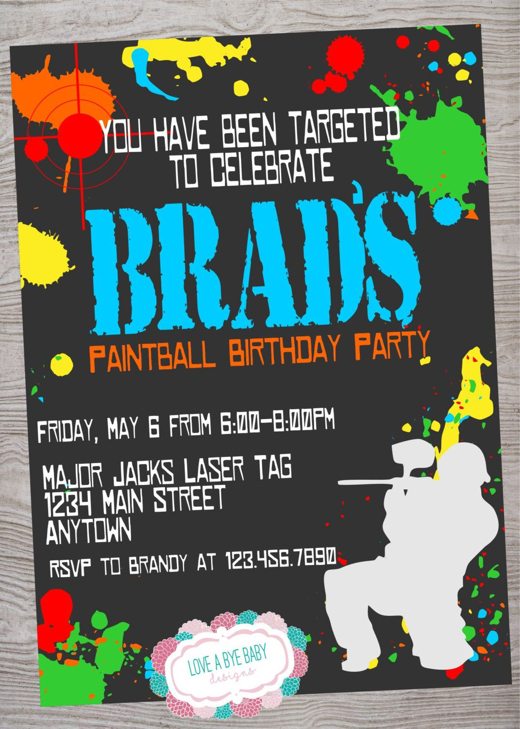 Paintball Birthday Invitation Printable Digital Download By LoveAByeBabyDesigns On Etsy