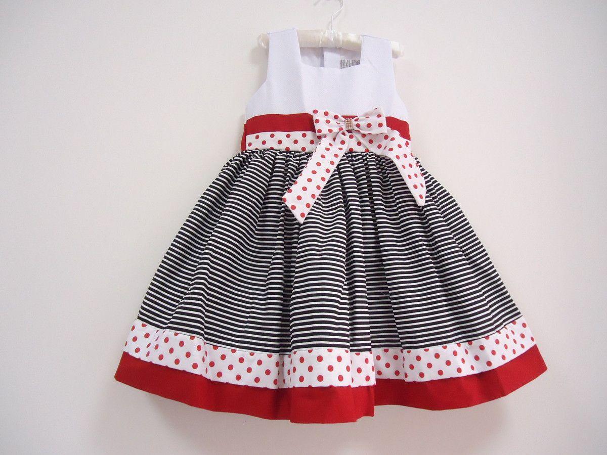 1e2a6ecb8e56b9 Vestido Infantil. Veste: 3/4 Anos Cintura: 56 cm Comprimento(Ombro ...