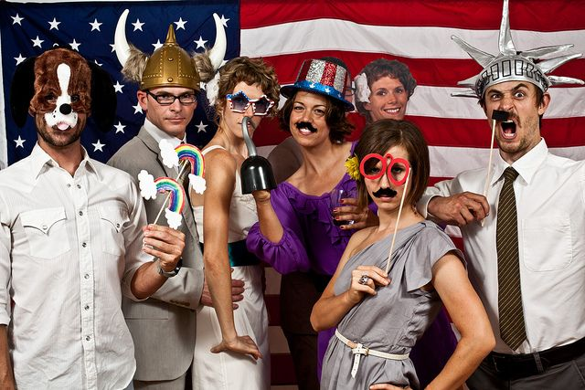 Jed and Amy's 4th of July Photo Booth, via Flickr.