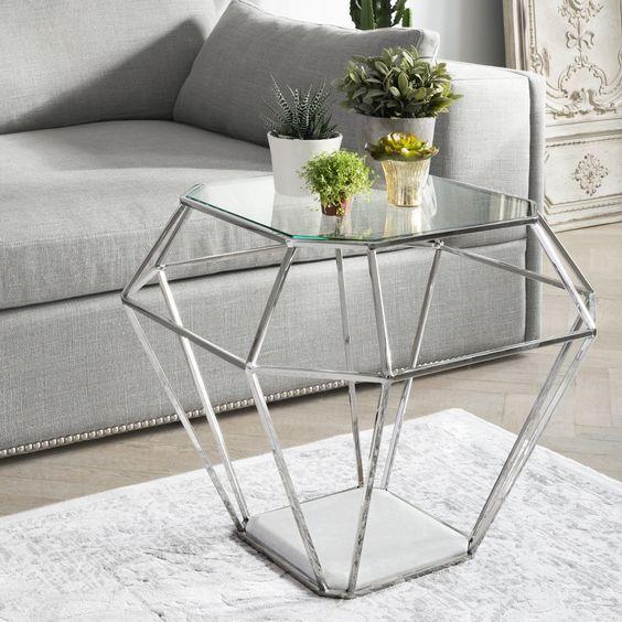 Jewel Glass Nickel Side Table Living Room Pinterest