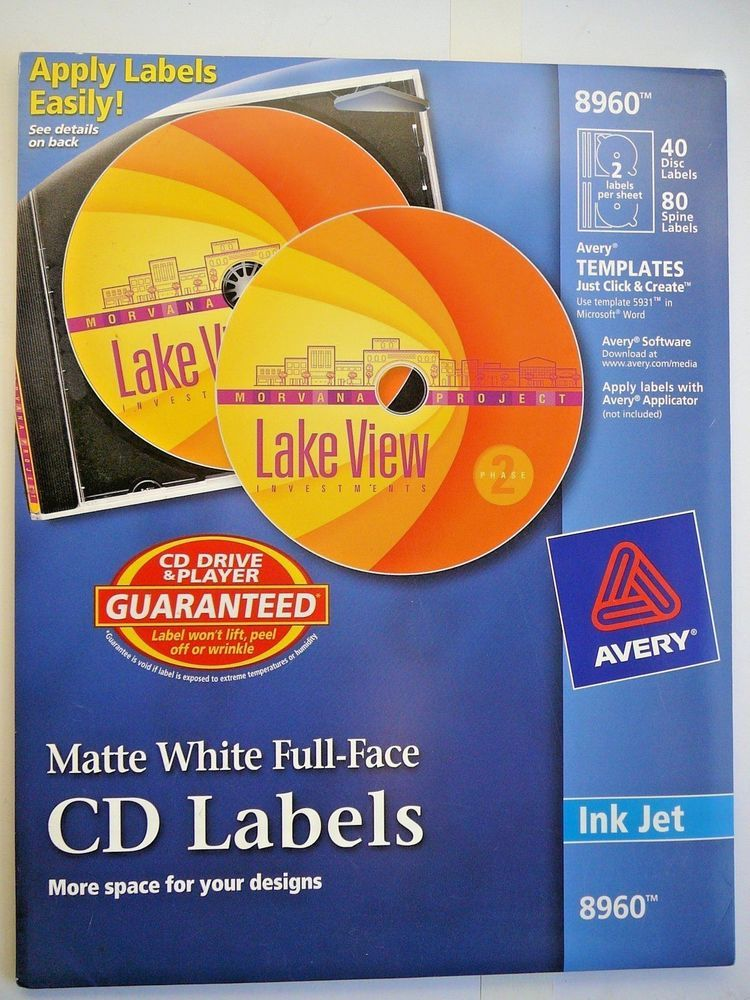 avery cd labels matte white full size front spine 24 labels ink