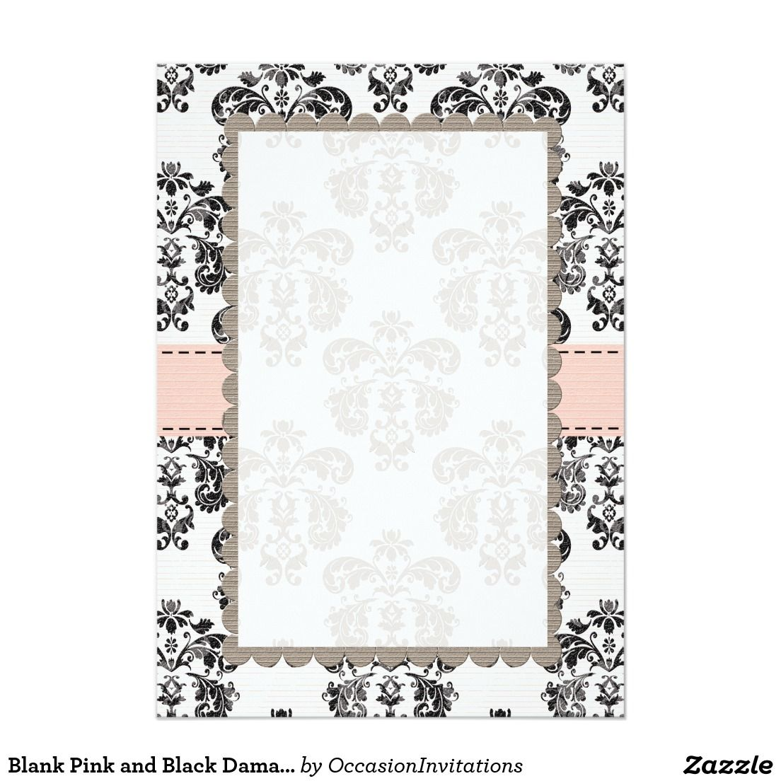 Blank Pink And Black Damask 5x7 Paper Invitation Card: Pink And Black Wedding Invitations Blank At Websimilar.org