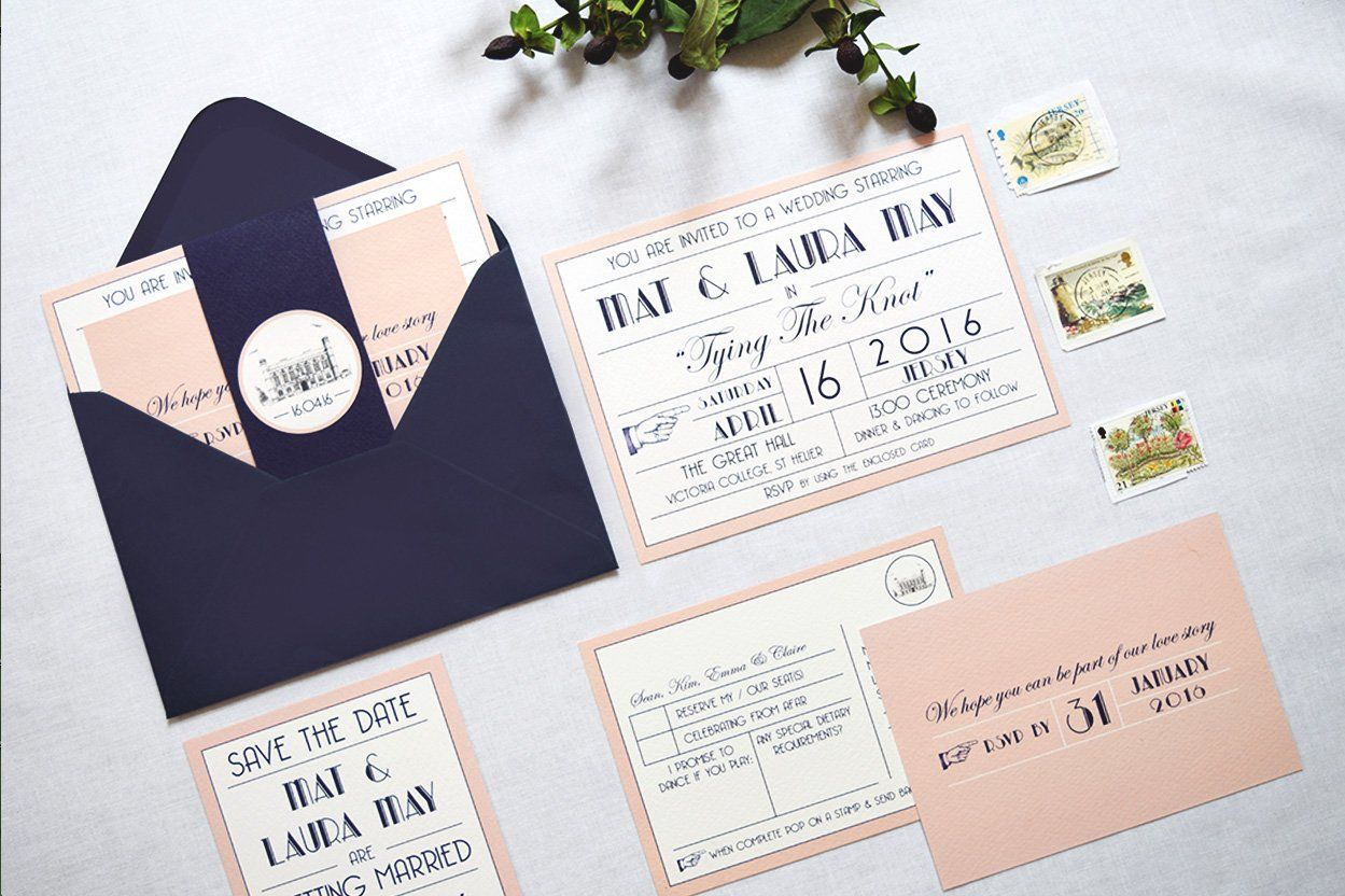 movie ticket stub wedding invitation%0A TYPOGRAPHICAL   FILM INSPIRED INVITE SET Designed  u     made with love by  Quints of Jersey