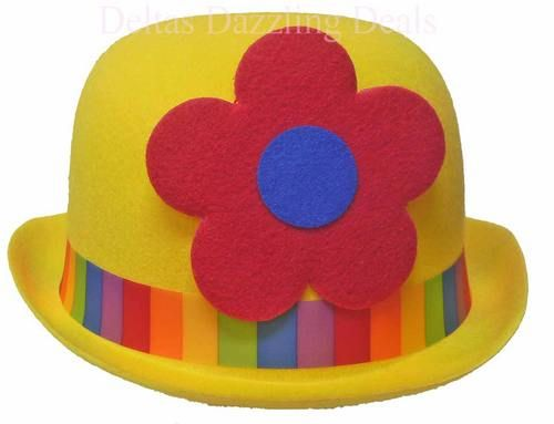 SW3839 Clown Yellow Bowler Costume Hat With Flower  c0b1b4686a14