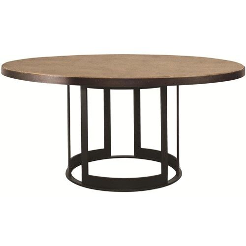 "Dining Room Table Bases Wood: Elements 54"" Round Wood Top Dining Table With Metal Base"