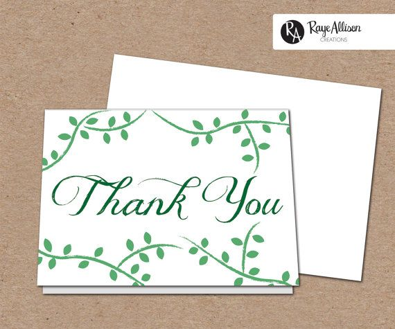 Vines Suite - Printable Thank You Note - personalized wedding thank