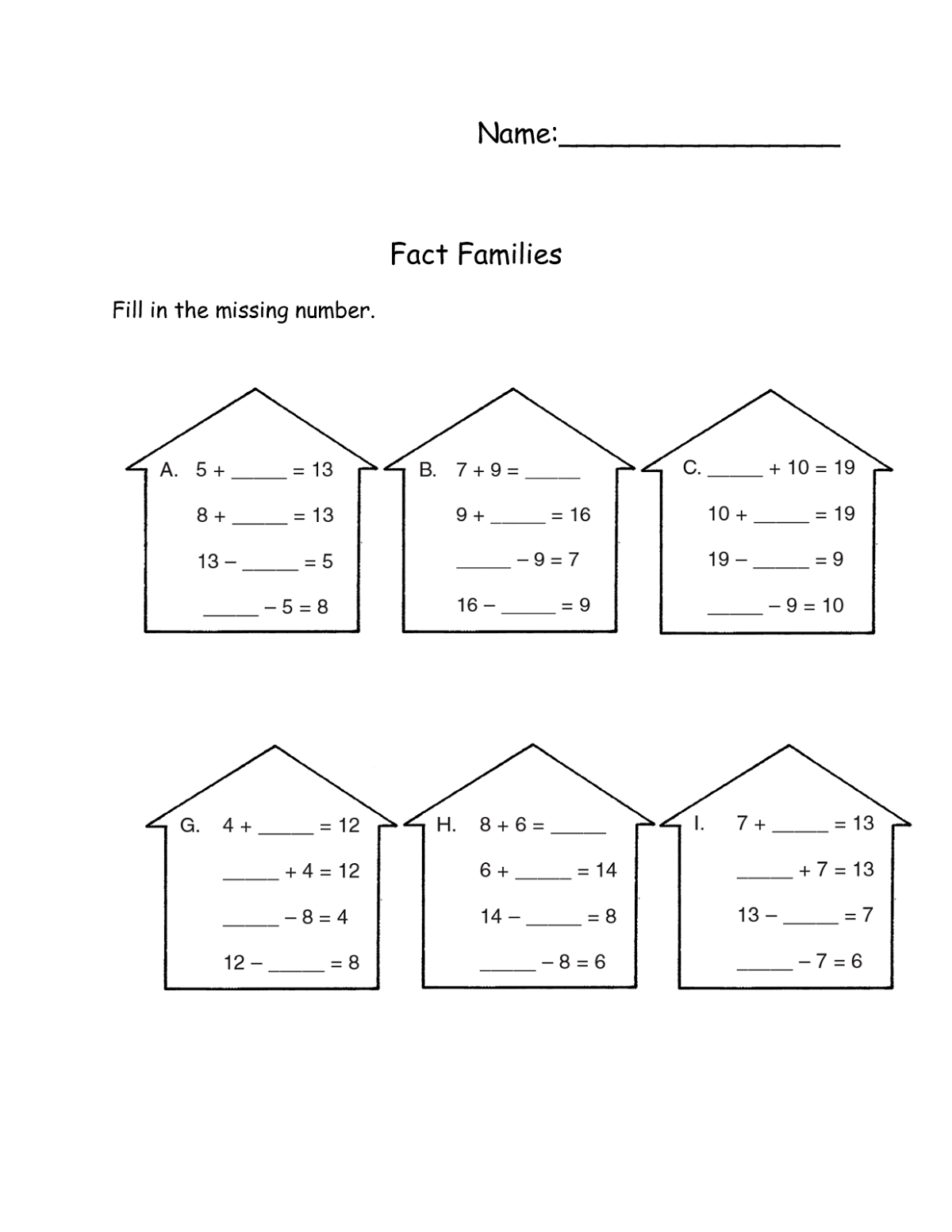Fact Families Worksheet For Elementary School In