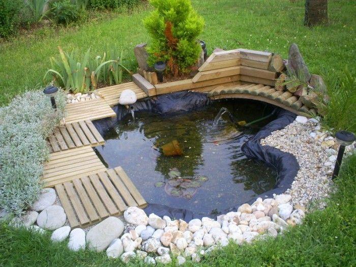 Cr er bassin carr dans jardin lilo les arbres du jardin venir pinterest decoration - Plante pour bassin ...
