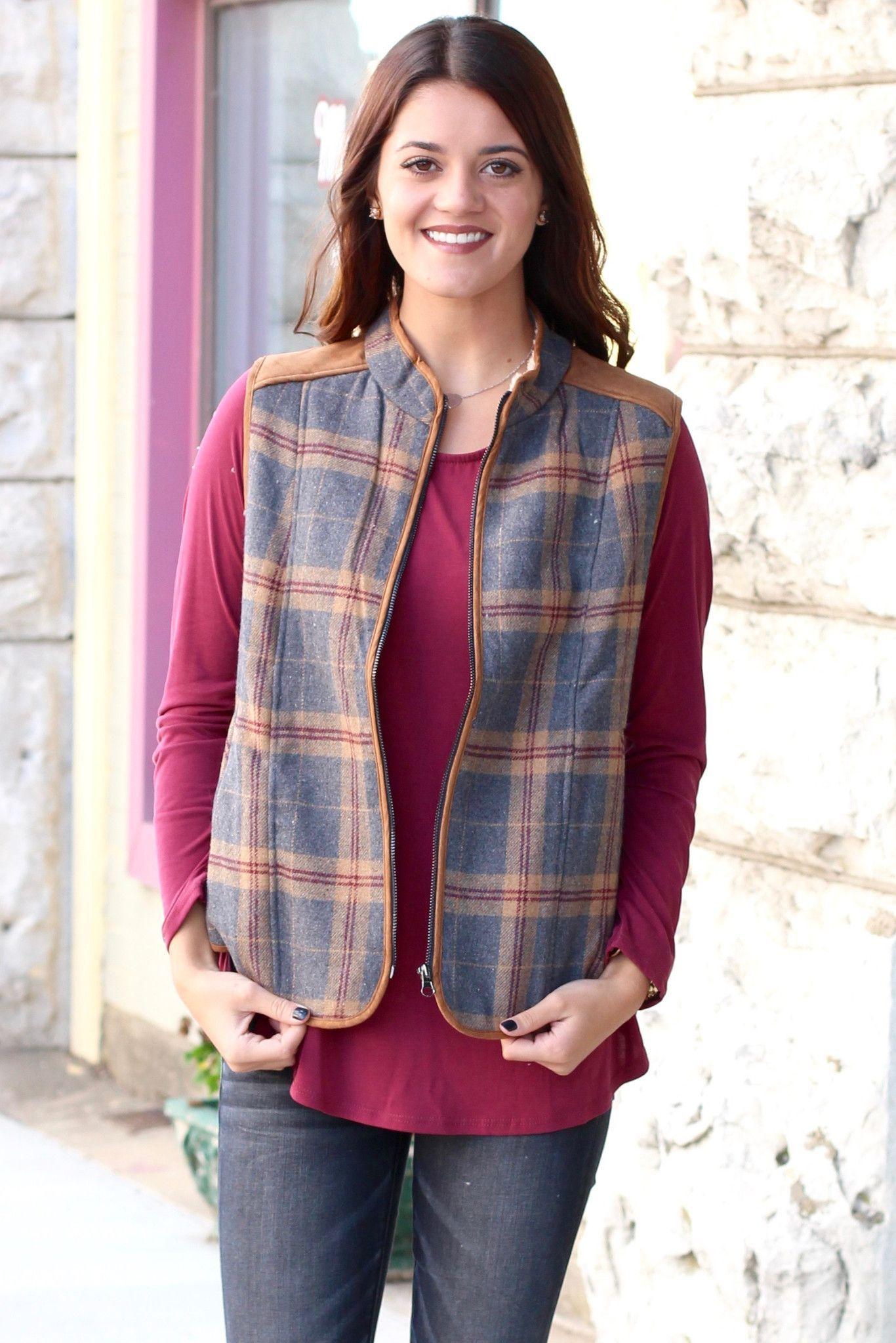Red flannel vest womens  Fantastic Plaid Flannel  Fur Lined Vest Charcoal  Plaid flannel