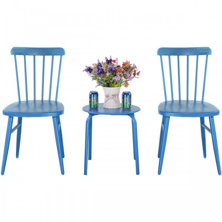 blue patio set 3 pc bistro table and chairs round metal indoor rh pinterest com