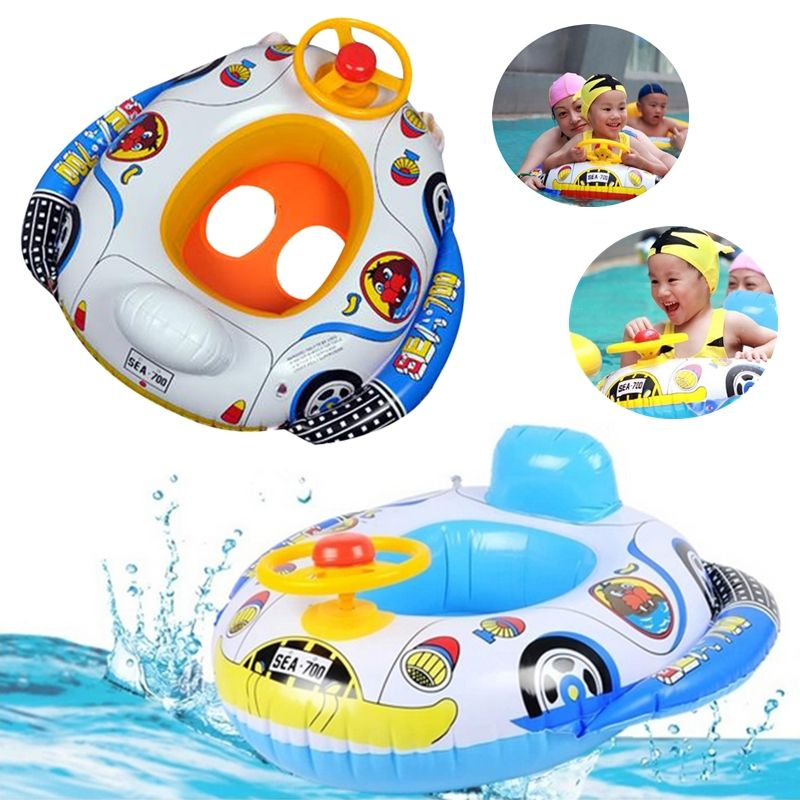 Kids Baby Inflatable Pool Seat Float Boat Swimming Wheel Horn ...