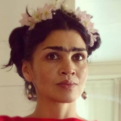 Frida Kahlo inspired hair and make up homage Halloween dress up