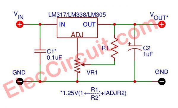 lm350 adjustable voltage regulator eleccircuit comlm338 lm350 voltage regulator calculator