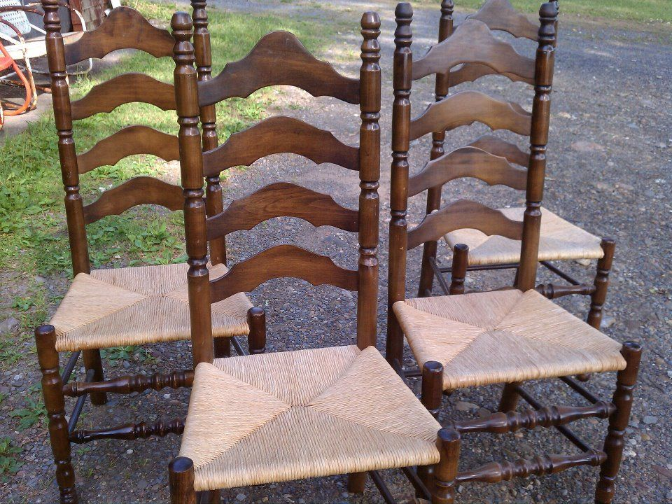 Redoing Antique Chair Set Of 6 Rush Seat Quality Ladder