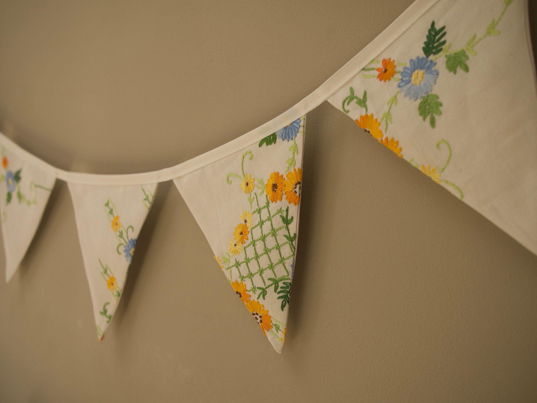Fabric Bunting  Wedding Bunting  Shabby Chic 2 metres Floral Bunting