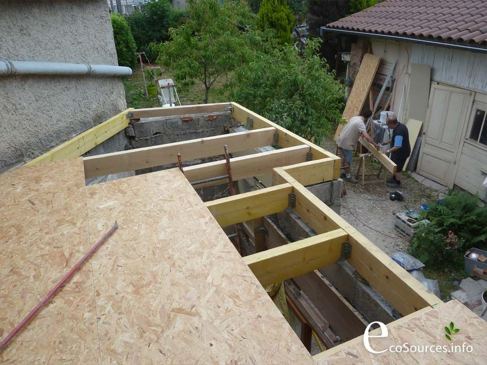 Chantier auto construction toit terrasse toiture for Extension toiture