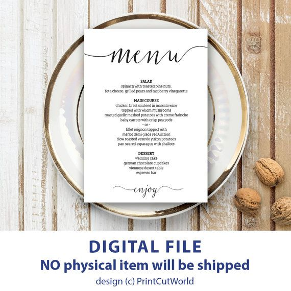 Wedding Menu Template 5x7 Rustic Wedding Menu Printable Etsy In 2021 Menu Card Template Rustic Wedding Menu Wedding Menu Template
