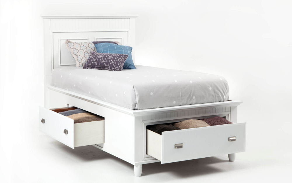 Spencer Twin White Storage Bed Bed, Bed storage, Storage