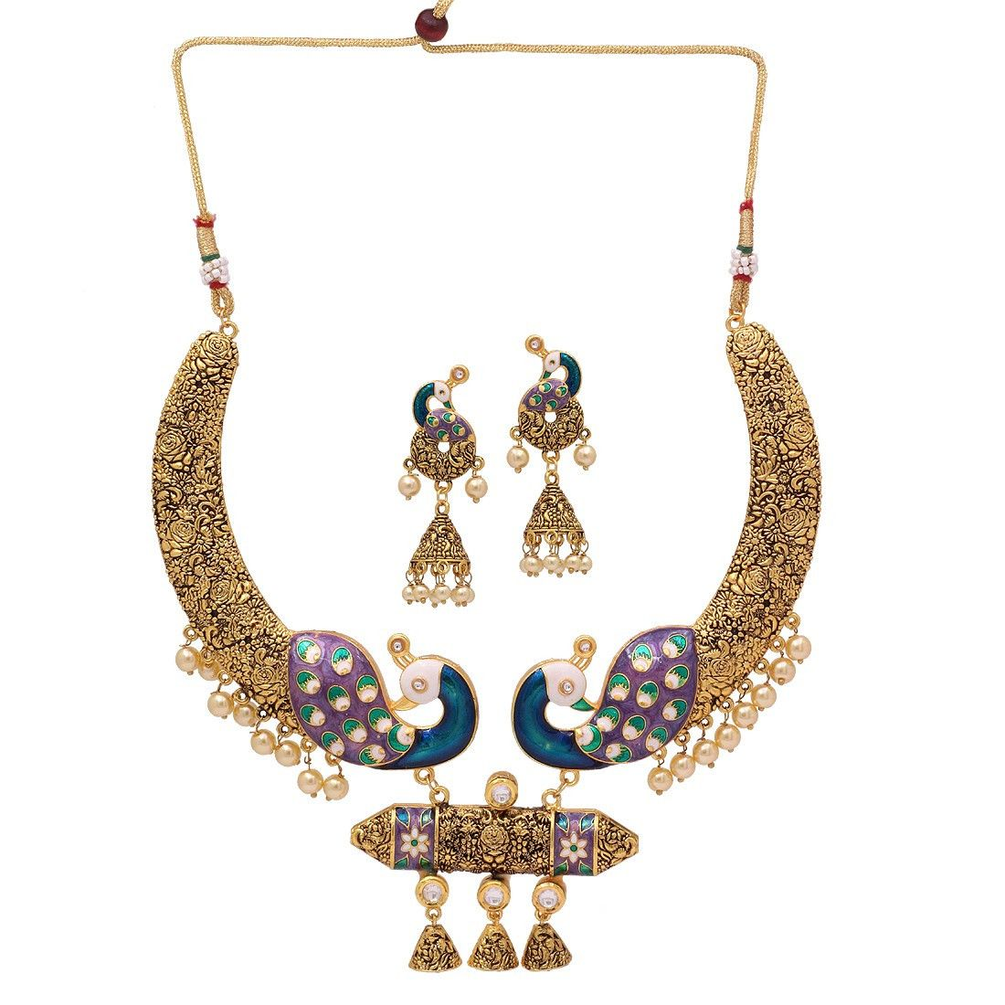 Blue color kundan u imitation pearl meenakari necklace with earrings