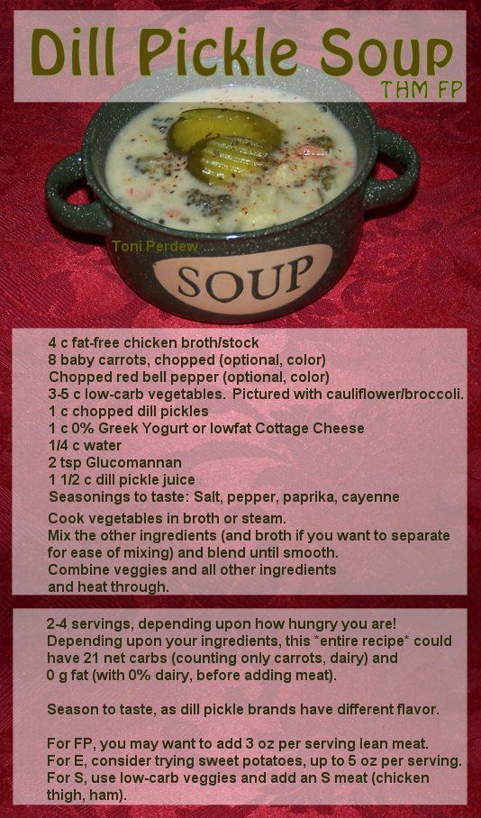 Dill Pickle Soup, THM Trim Healthy Mama, FP, low carb. Options for E and S versions. It is easier to blend the broth if you separate the chicken broth from veggies to blend with other liquid ingredients after cooking veggies. I used cottage cheese in my soup base for this photo. Strangely good!!!!