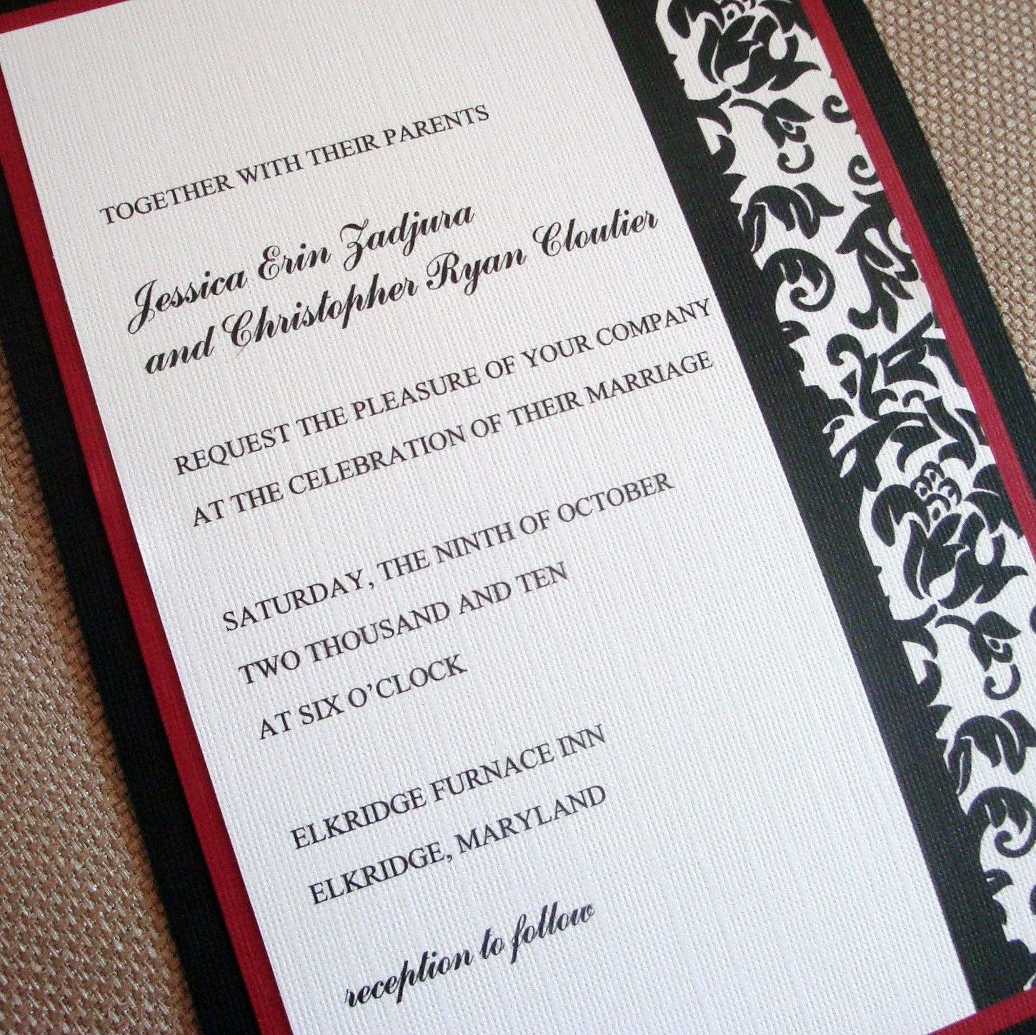 wedding invitation photo%0A Wedding Invitation  Damask  Dark Red  Black  and White  SET OF