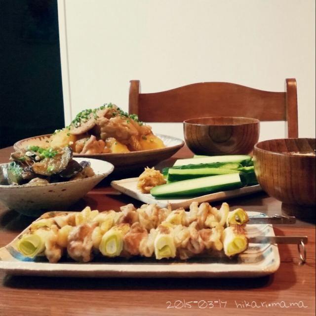 今日の夕飯は余り物簡単メニュー♪ 和食ほっとする~( ´ ▽ ` )♡ - 145件のもぐもぐ - 夕飯。鶏じゃか~からの、焼き鳥と鶏出汁うどん。味噌キュウリ、なすの生姜たっぷり油味噌。 by hikari622