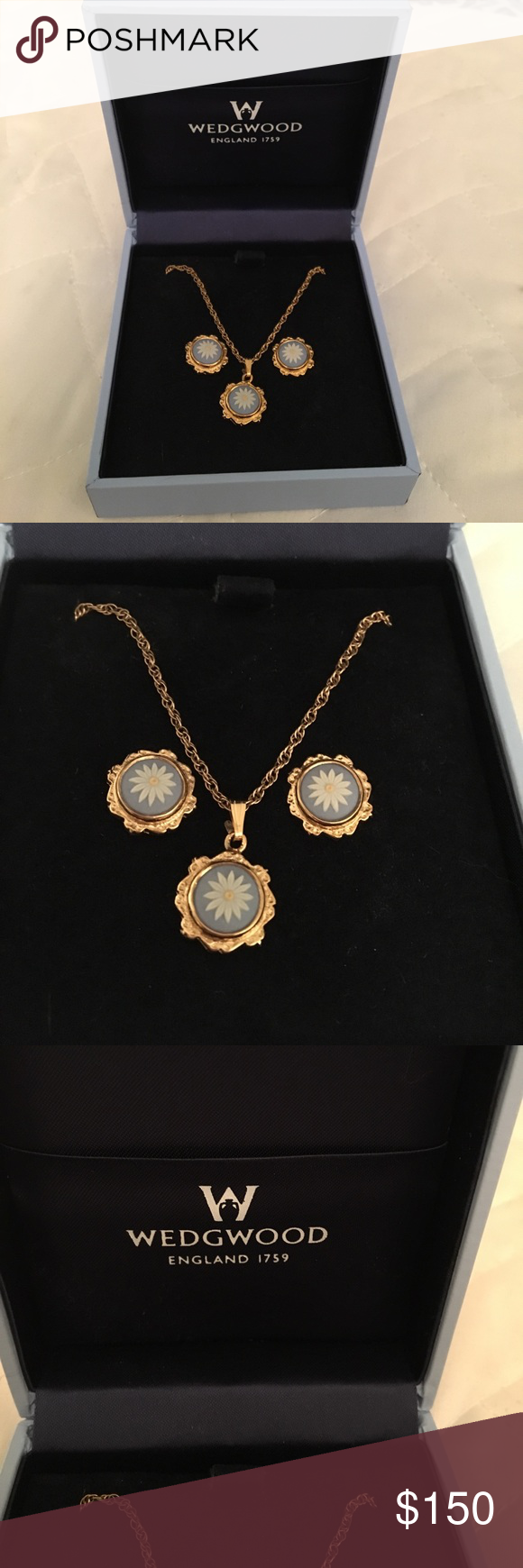 Genuine vintage Wedgewood necklace earring set Rare!!! Super hard to find. From England Vintage Wedgewood daisy necklace and earring set. Comes in box. Perfect new condition. wedgewood Jewelry Earrings