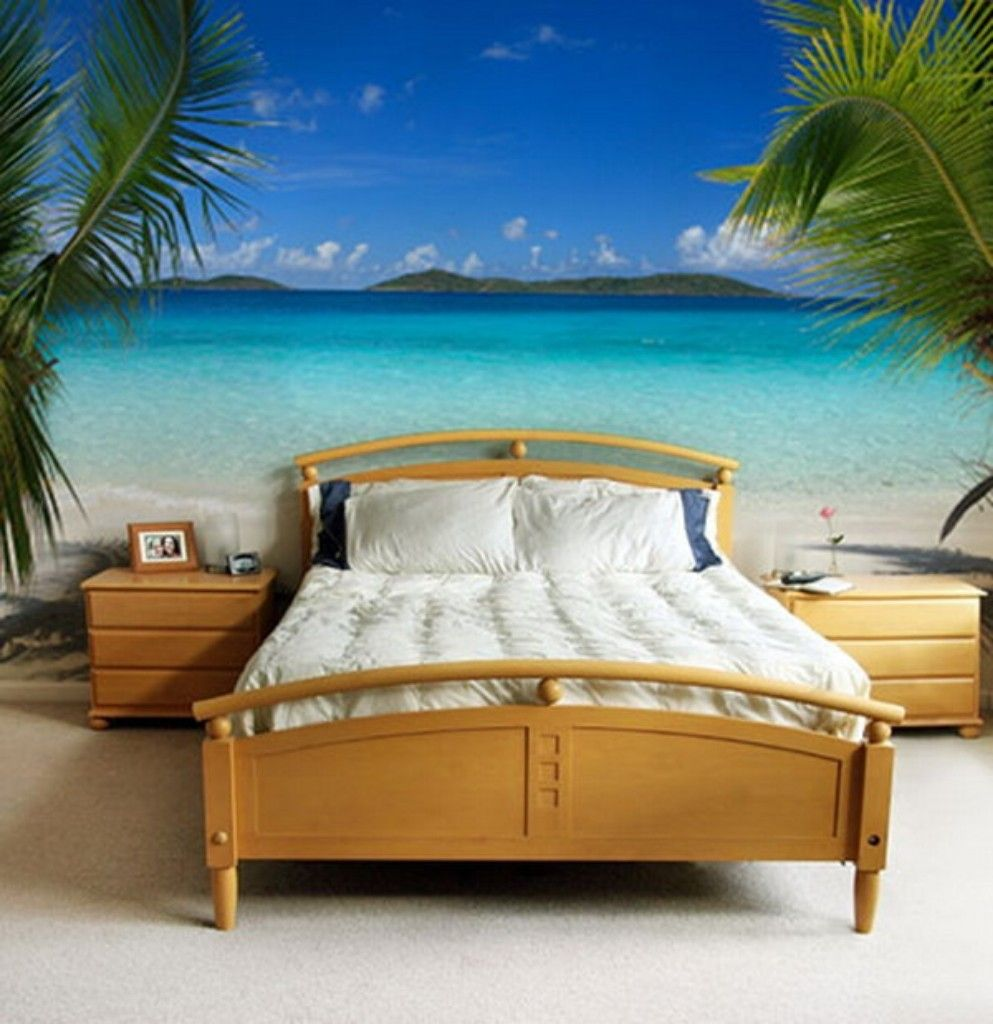 Delicieux Bedroom Design : Beautiful Beach Murals Bedroom Ideas Wooden Bedroom Table  Side Brown Wooden Bed Frame White Pillow White Bed Beige Floor 3D Wall  Painting ...