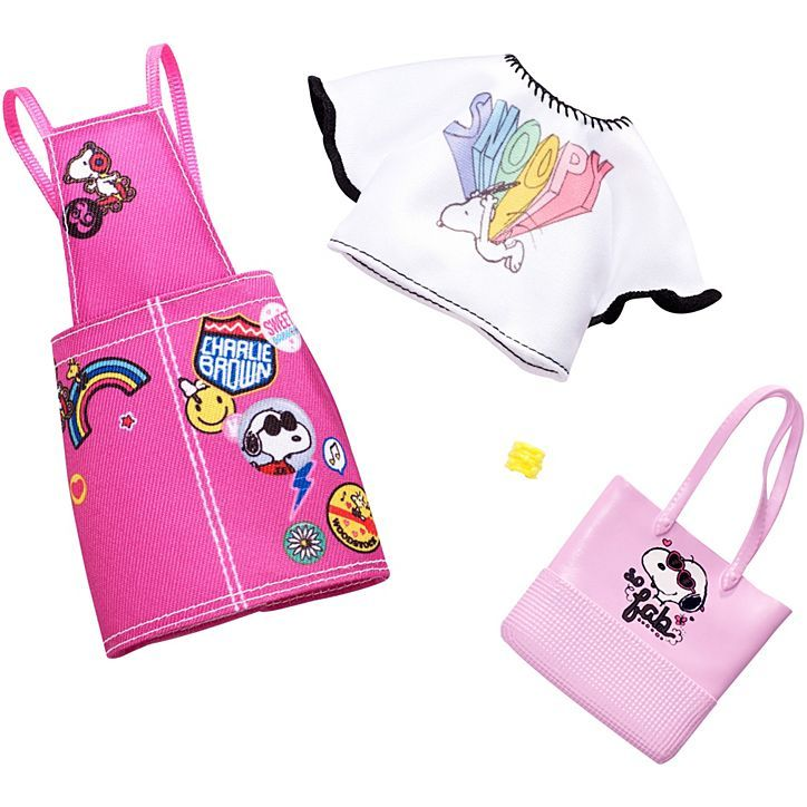 Barbie Fashions Peanuts 3 Snoopy Top and Pink Overalls | FPW45 #dollaccessories