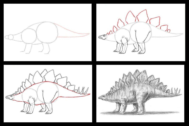 картинки динозавров поэтапно карандашом для плану