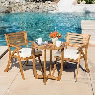 coronado outdoor 3 piece acacia wood bistro set with cushions by rh pinterest com