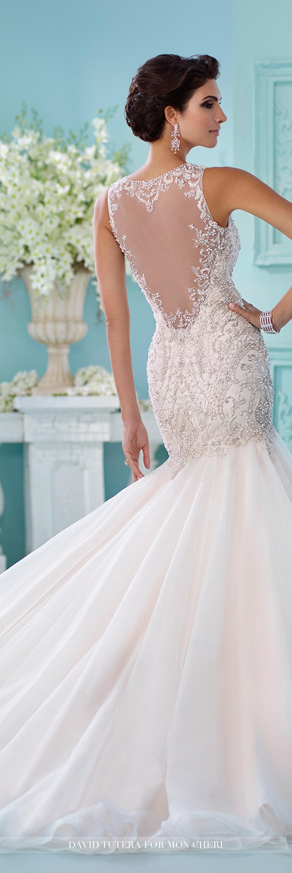 Embroidered tulle u satin trumpet wedding dress neela