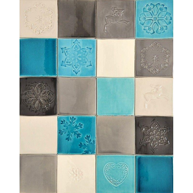 Carrelage salle de bain bleu gris : Carrelage en faïence gris et ...