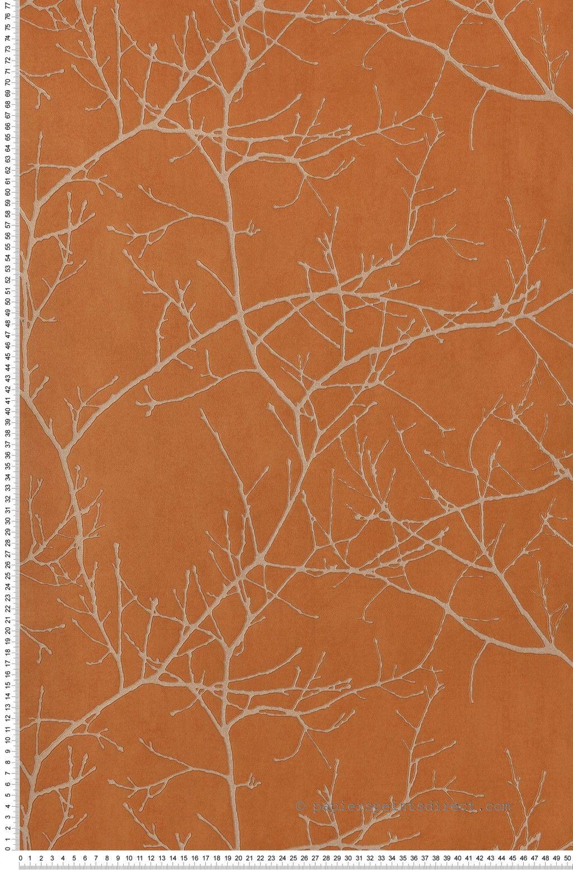 Branches D Hiver Orange Papier Peint Riverside 2 De Casadeco Mur