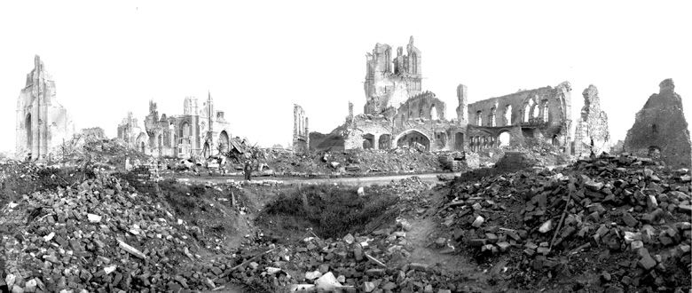 Ruins of the Lakenhalle (Cloth Hall) and St Martin's Cathedral, Ypres, October 1917.