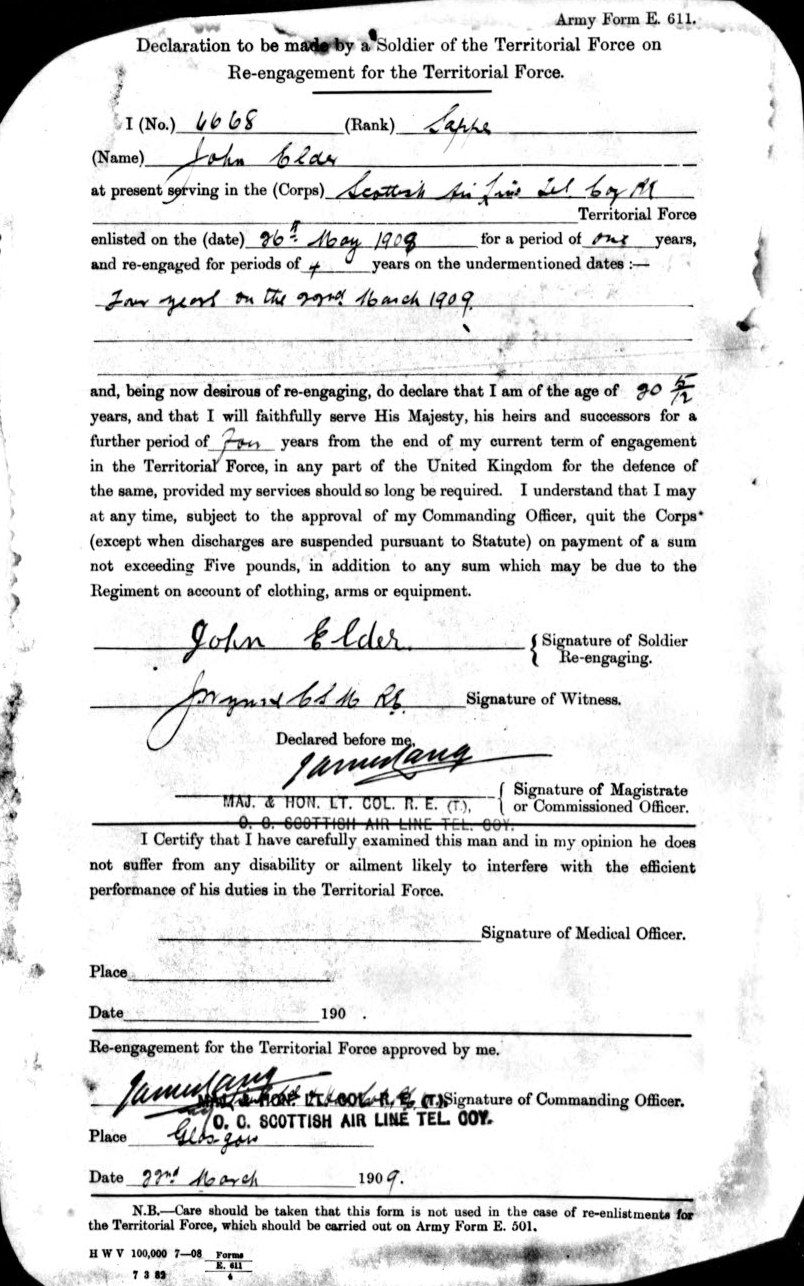 Royal Engineers  John Elder  Attestation Paper   World War One