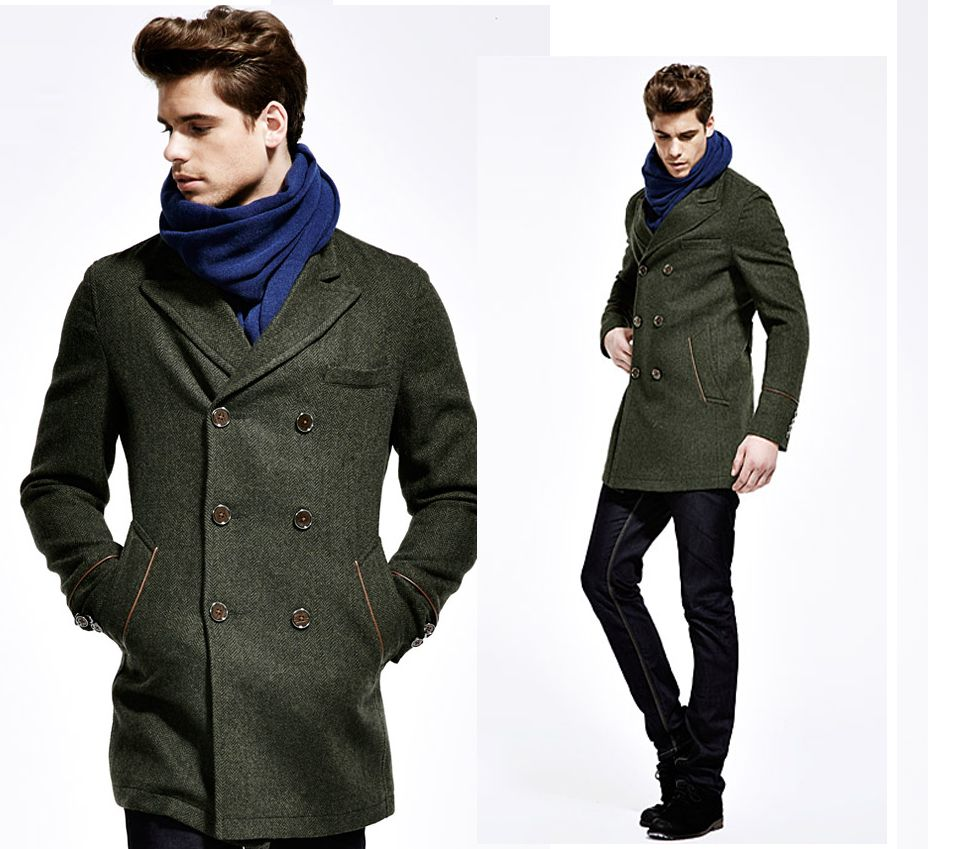 Dark Green Australian Wool Mens Long Pea Coat | Fashideas.com