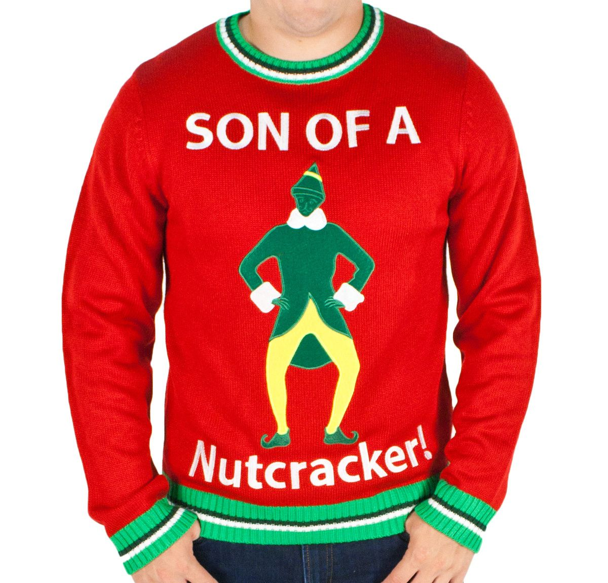 Men's Elf the Movie 'Son of a Nutcracker' Ugly Sweater in Red | Elves