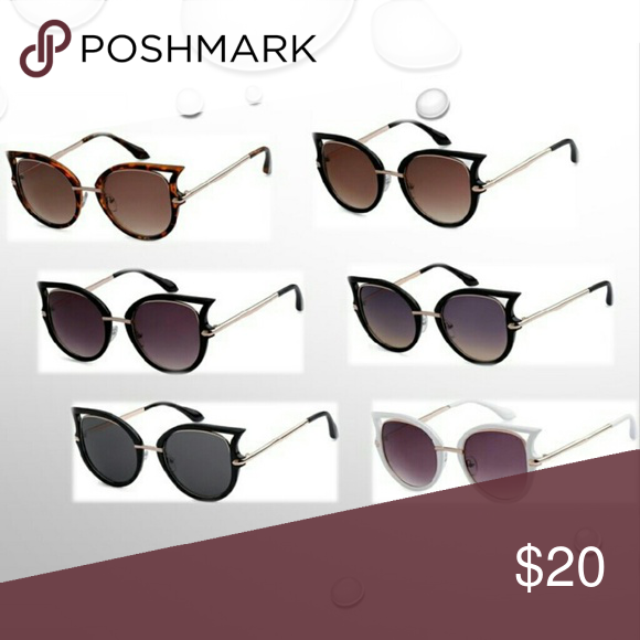 😎 Cat-Eye Sunglasses 😎 Fall Collection Cat-Eye Sunglasses  Gold Metal Frames & Arms wrapped in Black, Tortoiseshell or White Outer Rims with Brown, Blue or Gray Gradient lenses or Black  lenses.   Exact color selections listed in Size option VG Occhiali  Accessories Sunglasses