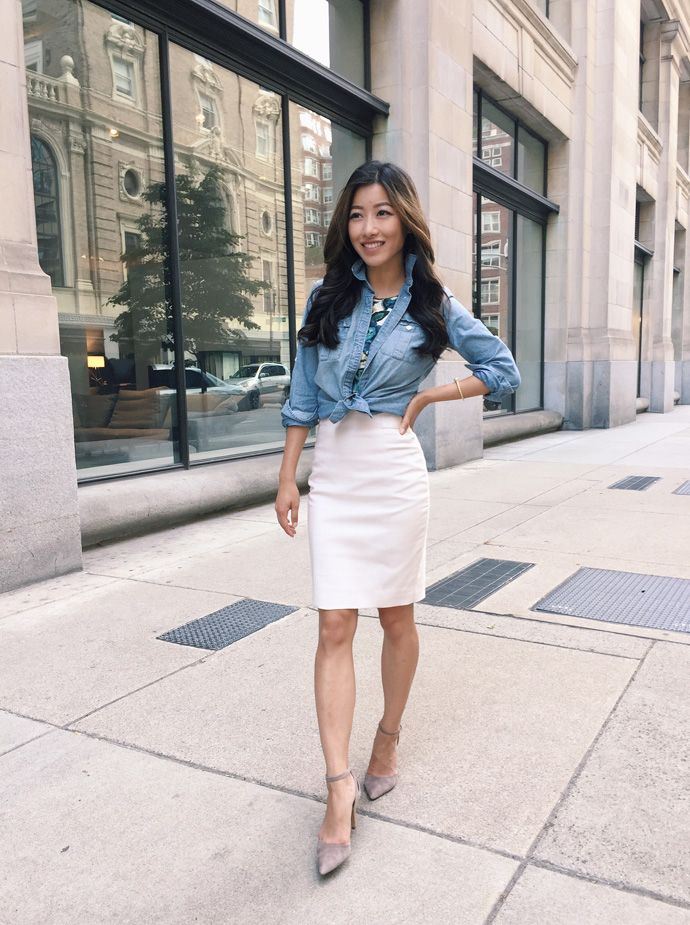 83812c90ef2 business casual work wear ideas for professional women    chambray shirt + white  pencil skirt