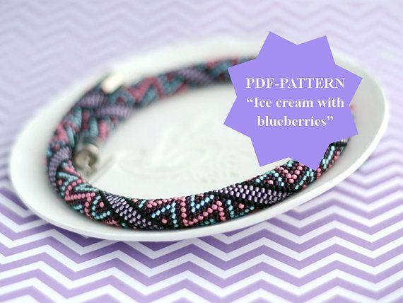 Perlen häkeln Halskette Muster Perlen Seil Muster Geometrie Muster ...