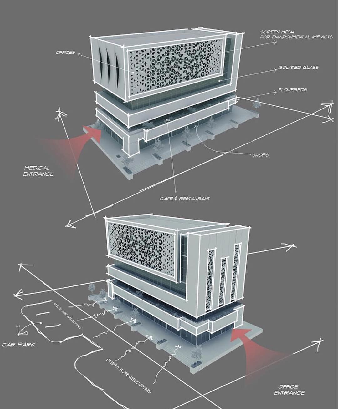 Commercial Building Design And Diagrams By  Rawand A Amin        Night Visu U2026