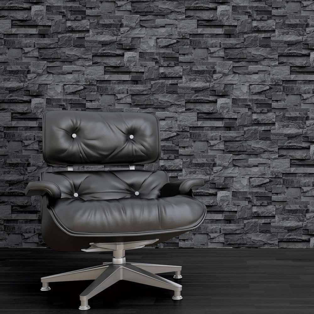 Photographic Slate Effect Wallpaper Charcoal Grey Brick