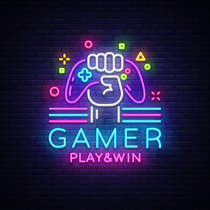 Gamer Play Win Logo Neon Sign Vector Logo Design Template Game Night Logo In Neon Style Gamepad In Hand Modern T Neon Typography Neon Signs Game Logo Design