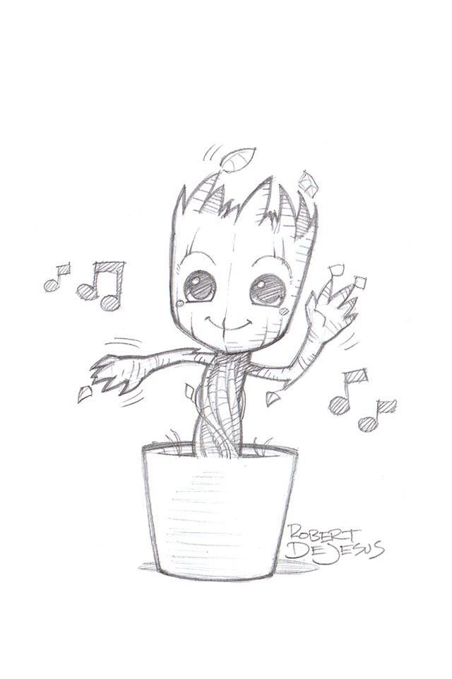 Just A Casual Picture Of Baby Groot Drawing In 2019 Drawings