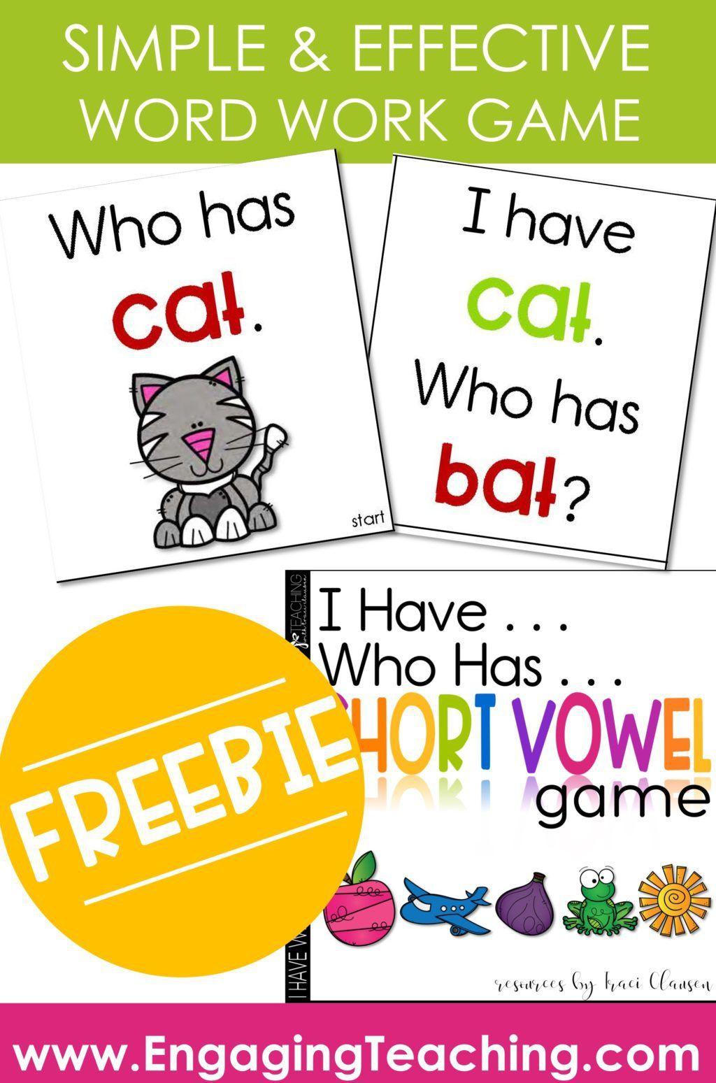 Cvc Word Work Game